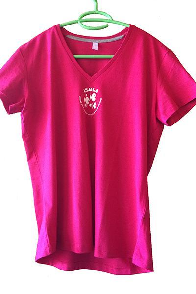T-Shirt rose col en V
